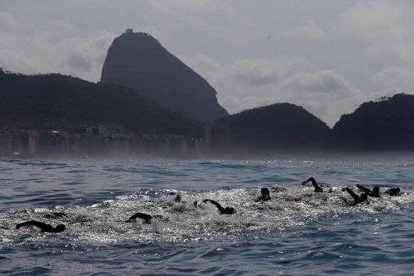 Rio de Janeiro, RJ, Brasil - 22/08/2015 - AqueceRio - Maratona Aquática no Forte Copacabana. Foto Rio 2016/ Marcelo Regua